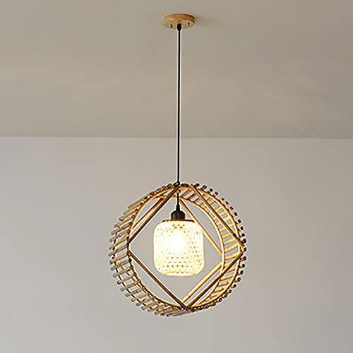 KAIKEA Forma redonda Personalidad E27 Iluminación Tejido moderno Lámpara colgante de mimbre Lámpara colgante de cúpula Lámpara de araña de bambú de cáñamo natural Luminaria para pasillo Comedor Dropli