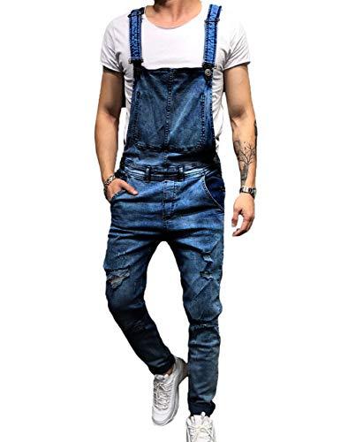 Shawnlen Männer Denim-Hosen Lässige Retro Combat Cargo Latzhose Latzhose Stonewash Jeans Jumpsuits (S, Dunkelblau)