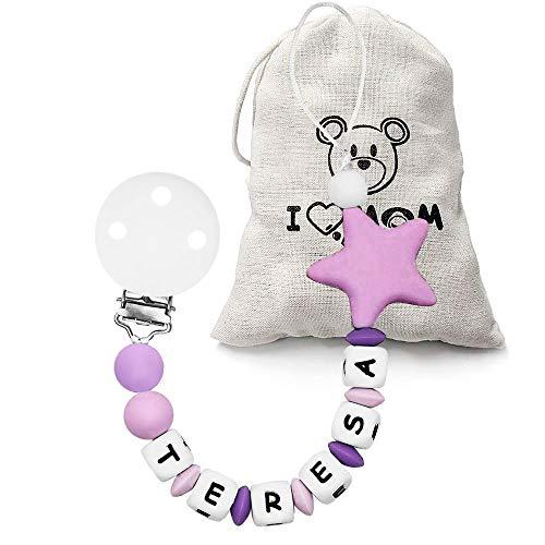 RUBY - Chupetero Personalizado para Bebé con Nombre Bola Silicona Antibacteriana con Pinza Acero Inoxidable, Chupetero Estrella (Morado)