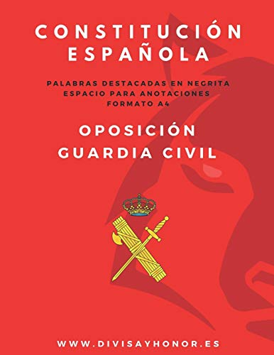Constitución Española en formato A4: oposición Guardia Civil