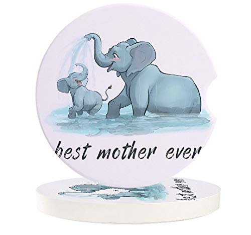 Car Absorbent Stone Coasters, Best Mother Ever Cute Elephant Mother and Child Playing Coaster Set for Auto, Convenient Finger Slot Fit Most Car, As Gift for Men and Women 6-Piece Set