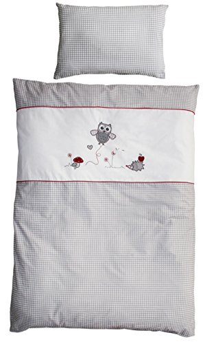 roba Bettwäsche 2-tlg, Kollektion 'Adam und Eule', Kinderbettwäsche 100x135 cm, 100% Baumwolle, Decken-& Kissenbezug für Babys & Kinder