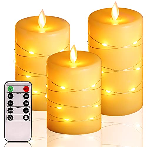 Flameless Candles,Battery Operated Candles,LED Candles.Battery Candles with String Lights.Flickering Candles with Remote and Timer.for Seasonal and Festival Celebration's Candles Set of 3.