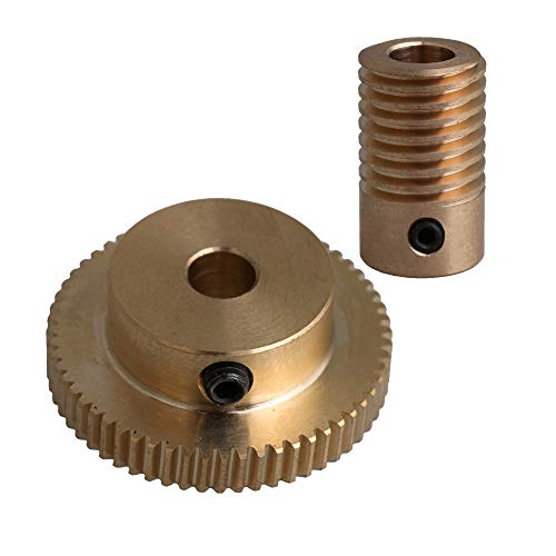 CNBTR 6MM Hole Dia Brass Worm Gear Shaft & 31MM 0uter Dia 60T Brass Worm Gear Wheel 0.5 Modulus Set