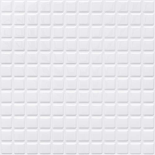 APSOONSELL モザイクタイルシール 【4枚】 DIY 壁紙シール 白 3D タイルシール 洗面所 キッチン 防水 剥せるシール 壁紙 はがせる KBMS-39W