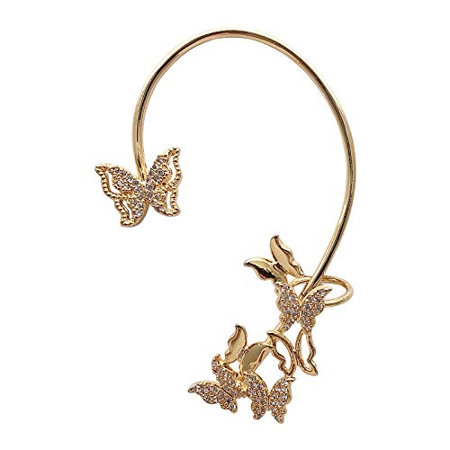 S925-Clip de oreja de aguja de plata un hada forma de mariposa temperamento súper pendientes de hadas
