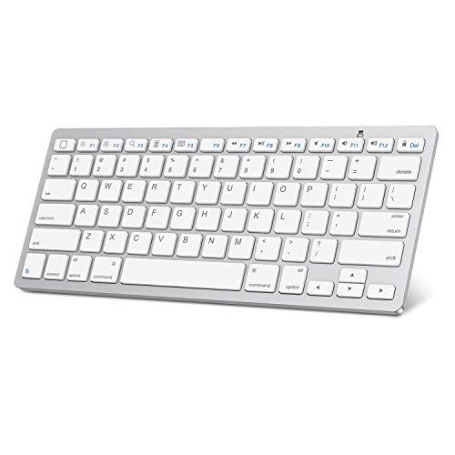 iPad Pro 11/12.9 Keyboard, OMOTON Universal Slim Portable Wireless Bluetooth Keyboard with Function Keys Design for iPad Pro 12.9/11 / 10.5/9.7, iPad Mini and iPhone, White