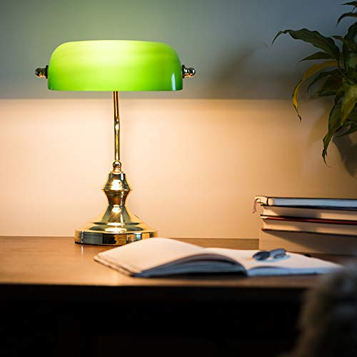 QAZQA Art Deco/Klassisch/Antik/Retro Schreibtischleuchte/Tischleuchte/Büroleuchte/Tischlampe/Lampe/Leuchte NOTAR messing mit grünem Glas/Innenbeleuchtung/Wohnzimmerlampe/Schlafzimm