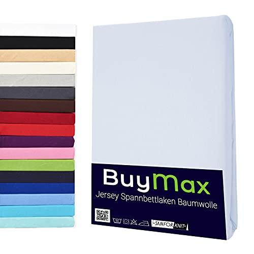 Buymax Spannbettlaken 140x200-160x200 cm Spannbetttuch Bettlaken 100% Baumwolle Jersey Bettbezug für Matratzen bis 25 cm Steghöhe, Weiß