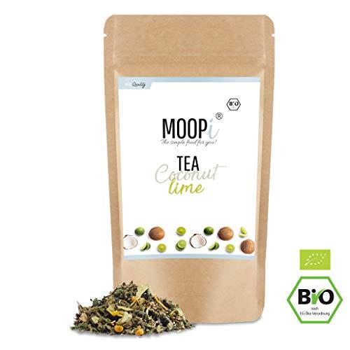 Moopi ® Premium Tee versch. Sorten ⎮ 100% Bio-Zertifiziert ⎮ Loser Kräutertee, Grüntee, Detoxtee, Entschlackungstee, Entgiftung, Abnehmtee ⎮Hochwertiger Bio Tee zum Entspannen (Coco Lime)