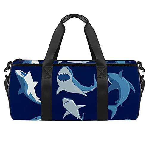 Borsone sportivo da palestra, borsa da danza media, leggera, resistente, per palestra, viaggio durante la notte, per uomo e donna, blu mare cavallo, Squalo Feroce Blu 3, 45x23x23cm,