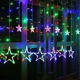 Errol Star Curtain Lights 12 Stars,138 String Led Light 2.5 Meter for Christmas Decoration-Strip Led Light for Party Birth...
