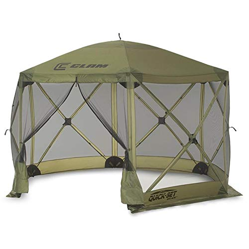 CLAM Quick-Set Escape 11.5 x 11.5 Foot Portable Pop-Up Outdoor Camping Gazebo Screen Tent 6 Sided Canopy Shelter with Ground Stakes & Carry Bag, Green