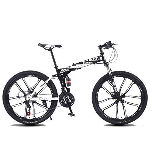 HomeOut Foldable 21/24/27-Speed 26' Mountain Bike for Adult, Lightweight Aluminum Full Suspension Frame, Disc Brake,White,27 Speed