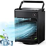 Portable Air Conditioner Fan, Personal Air Cooler Desk Fan Mini Evaporative Cooler Fan with Handle, 120°Auto Oscillation, 3 Adjustable Speeds, 4000mAh Rechargeable Battery Operated (Black)