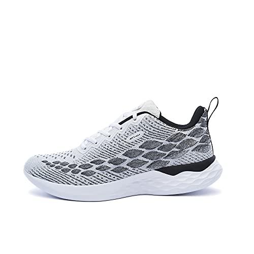 ATHIX Progressive Flexy - Zapatillas de Correr para Hombre, Blanco (Blanco/Negro), 44 EU - Zapatillas Deportivas, cómodas y Transpirables