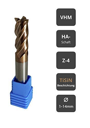 Fräser Schaftfräser Hartmetall VHM TiSiN beschichtet 55 HRC 4 Schneiden, bohren, fräsen, schlichten, eintauchen, CNC, Wolframkarbid (5mm)