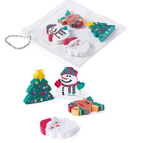 Lote de 15 Set de 4 Gomas de borrar con diseños navideños. Presentadas en Bolsa con cadenita. Ideal para Eventos Infantiles en Navidad