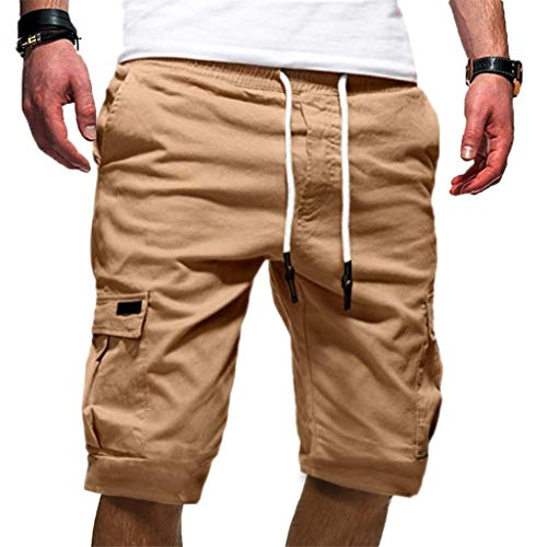 Exteren - Pantalones Cortos Deportivos para Hombre, Estilo Casual, con cordón