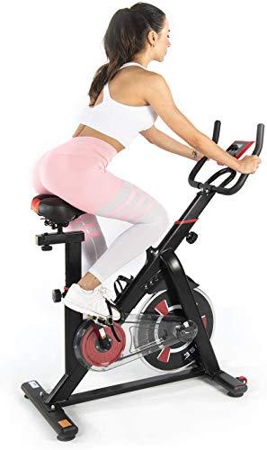 ISE SY-7021 - Bicicleta estática para interior de ejercicio, bicicleta cardio, entrenamiento de resistencia ajustable y pantalla LCD silenciosa, para deportes casas de hasta 120 kg, color negro