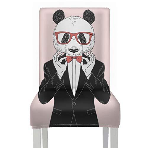 Fundas de Asiento para sillas de Comedor Vestidas con Panda Hipster en Gafas Fundas para sillas de Taburete Poliéster elástico extraíble Lavable Comedor Eoom Funda para sillas para el hogar Cocina Fi