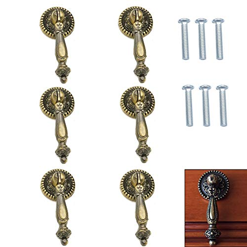 FAFAHOUSE 6 Pack Vintage Cabinet Pull Handle Knob,Antique Style Bronze Metal Drawer Tear Drop Cabinet Decorative Pull Handle Knob