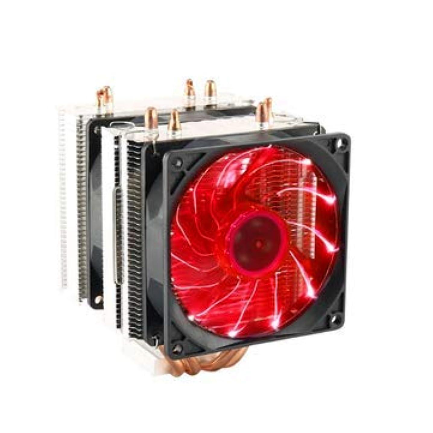 3 Pin 90mm LED CPU Cooling Fan Cooler Radiator for LGA2011 LGA1155 AMD3+ AMD2 - Computer Components CPU Cooling Fans - (Red) - 1 LED CPU Heatsink, 1 Thermal Grease, 1 Bracket