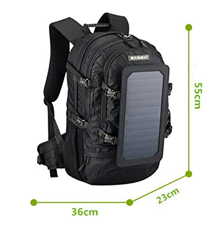 Solar Backpack With Detachable Usb Fast Charge Solar Panel Laptop...