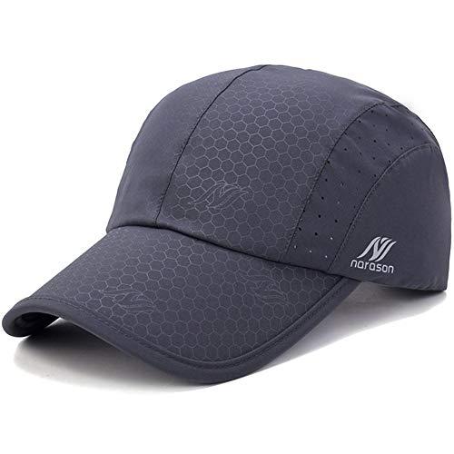 KimTime verstellbar Mütze Schnelltrocknende Schirmmütze UV-Schutz Kappe für Herren und Damen Sommer-Dunkelgrau-Einheitsgröße