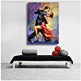 Impresión en lienzo Bellas artes Pintura al óleo Tentación del tango Pareja bailando tango arte original Lienzo de pared Cuadros para decoración de la sala de estar 15.7 'x 23.6' (40x60cm) Sin marco