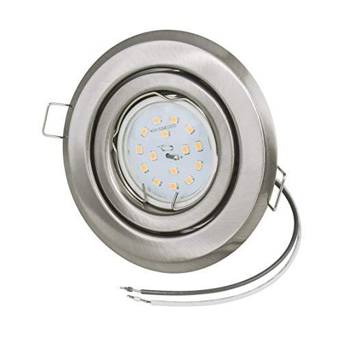 Ultra Spot plat avec LED | 3,5 cm Profondeur de Montage LED inclus. | GU10 230 V 400 Lumen 2700 K | Blanc chaud – Orientable | rond en acier inoxydable brossé | Petite Petite Profondeur d'encastrement Salon Salle à manger couloir Kit de démarrage | équivalent halogène 45 W | LED échangeable