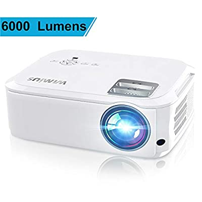 """Projector, WiMiUS P21 6000 Lumens Video Projector Native 1920×1080 LED Projector Support 4K Zoom 300"""" Display 100,000H Lamp Compatible with Fire TV Stick Laptop Phone Xbox PS4 Power Point Presentation"""