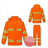 ZANZAN Chalecos Reflectantes Traje de Ropa Reflectante Impermeable, Mono reflexivo, para Trabajador de saneamiento, Jardinero Chalecos de Seguridad (Color : Orange A)