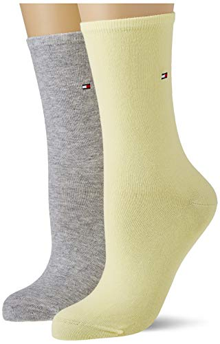 Tommy Hilfiger Casual Women's Socks (2 Pack) Calcetines, amarillo, 39-42 para Mujer