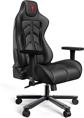 Chaise Gaming de Bureau Chaise de Course, 4D réglables en Cuir PU Fauteuil Ergonomique pivotant, siège à roulettes avec Dossier inclinable Game Chair (Black G)