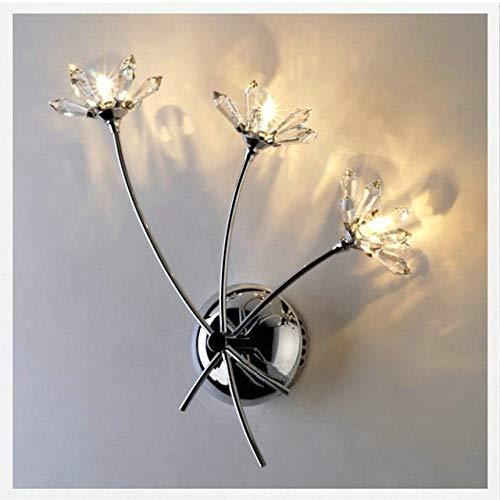 Lámpara De Pared De Cristal Led Lámpara De Pared De Flores Lámparas Para El Hogar Espejo De Baño Luces Delanteras Iluminación De Arte Moderno Decoración De Interiores Blanco 3 Cabezas Telosma