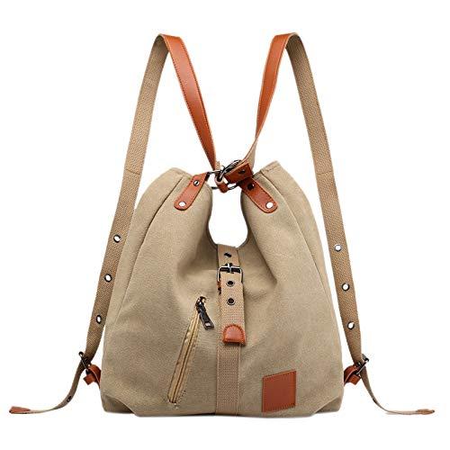TOOGOO Mummy Bag Multifunctional Backpack Leisure Women's Handbag Large Capacity Canvas Tote Bags Mother Baby Shoulder Light Brown