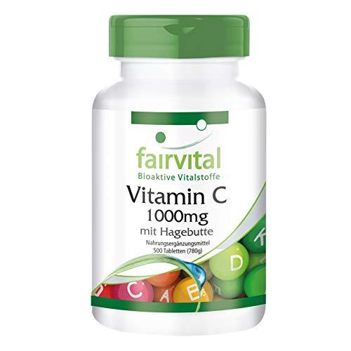 Vitamine C 1000 mg met rozenbottels - HOOG GEDOSEERD - 500 tabletten - VEGAN - maagvriendelijk - 1,5 jaar voorraad verpakking
