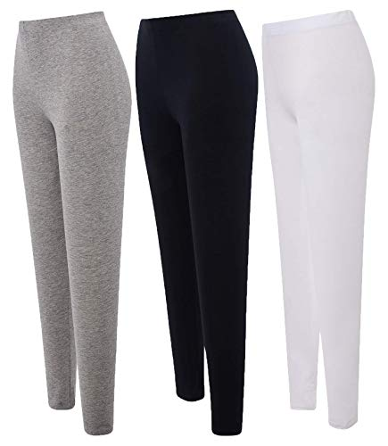 JHK - Leggins Mujer Fitness Cintura Alta Elástica - Pantalones Deportivos - Mallas Mujer Running Yoga (Blanco + Negro + Gris, S)