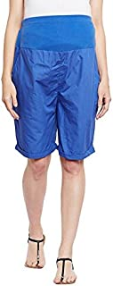 oxolloxo Women's Cotton Maternity Shorts (Blue)