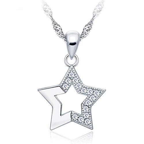 Colgante de plata de ley 925, diseño de estrella de cinco puntas incrustadas de circonita, cadena de clavícula