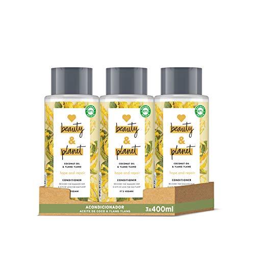 Love Beauty and Planet Acondicionador para Cabello dañado, Aceite de Coco e Ylang Ylang Vegano - Pack de 3 x 400 ml (Total: 1200 ml)