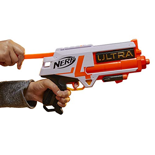 NERF Ultra Four Dart Blaster -- 4 Ultra Darts, Single-Shot Blasting, 2-Dart Storage -- Compatible Only Ultra Darts