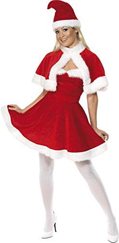 SMIFFYS Smiffy's Costume Miss Santa, Rosso, con abito, cappa e cappello per Adulti, Rosa, M-EU Dimensione 40-42, 33317M