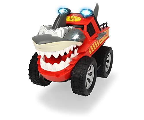 Dickie Toys Shaking Shark, Pick Up Truck im Hai-Design, Spielzeugauto mit Motorisierung fürs Vorwärtsfahren, Beiß & Flossenbewegung, Licht & Sound, inkl. Batterien, 30 cm, ab 3 Jahren
