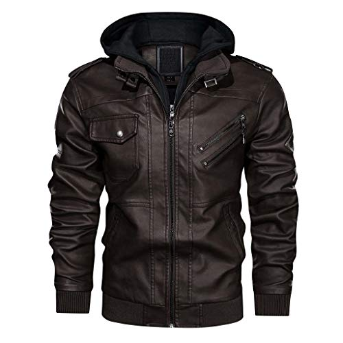 FLAVOR Men's Leather Motorcycle Jacket with Removable Hood Brown Pigskin (XXX-Large, Brown)