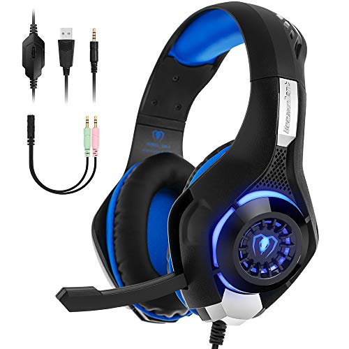 Beexcellent Gaming Kopfhörer PS4 Over Ear GM-1 Gaming Headset mit LED Stereo Sound Kopfhoerer 3.5 mm mit Mikrofon Headphone für PC Laptop XBox One PlayStation 4