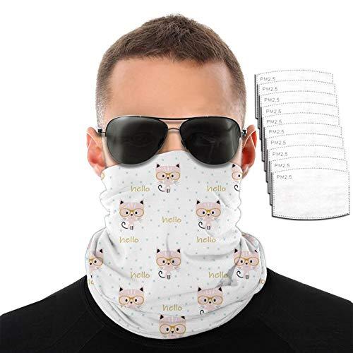 Gato en gafas hombres mujeres deportes al aire libre a prueba de viento variedad transpirable toalla de cara