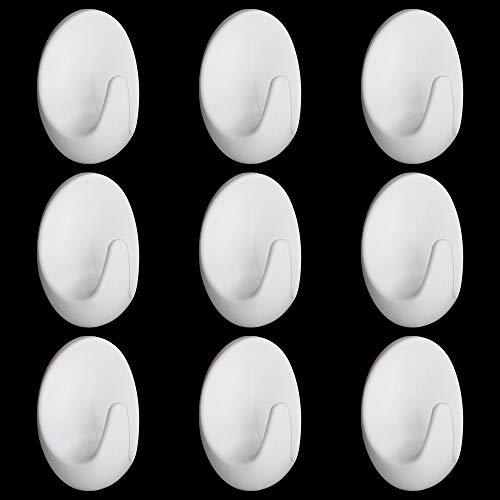 PLCatis Ganchos Adhesivos de Pared 6 Piezas de Blanco Gancho de Plástico Colgadores Pared para Colgar Toallas Abrigos llaves...