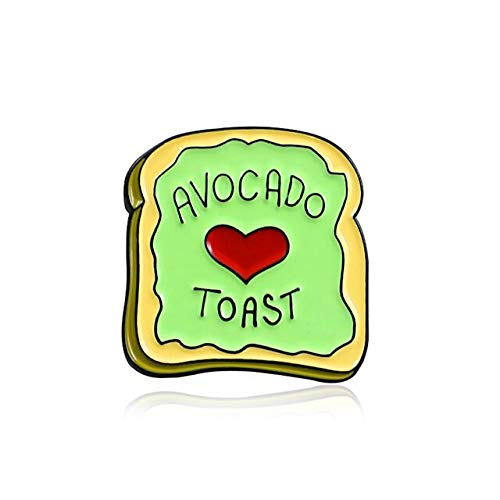 Kreative grüne Avocado Toast Brosche glänzend rot Liebe Frühstück Toast Brot Emaille Pin Denim Rucksack Abzeichen Paar Kinder Geschenke